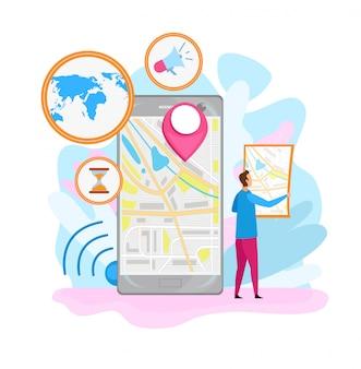 Ilustración plana de la aplicación de navegación