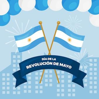 Ilustración plana argentina dia de la revolucion de mayo