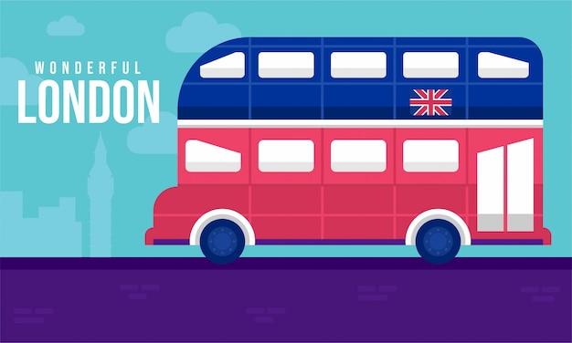 Ilustración plana de autobús de londres