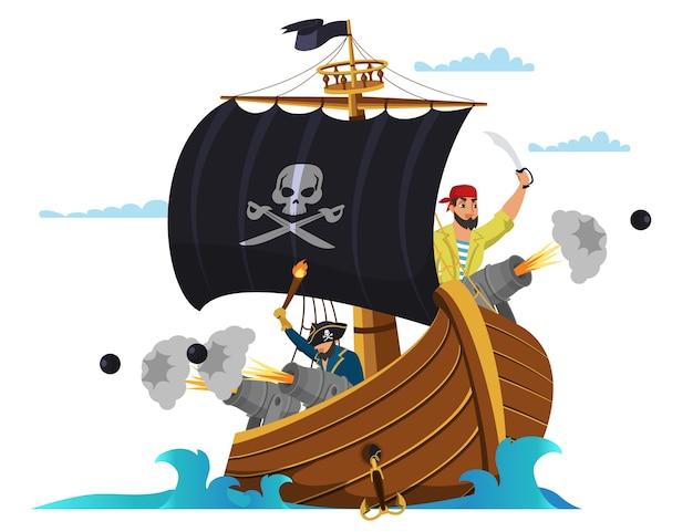 Ilustración plana de barco pirata. piratas, personajes de dibujos animados de bucaneros, velero en el mar, marineros, capitán, contramaestre, patrón, ataque de agua, lucha, vela negra con calavera