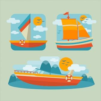 Ilustración plana del barco
