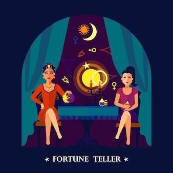 Ilustración plana de la bola de cristal de fortune teller