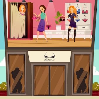Ilustración plana de boutique de ropa interior