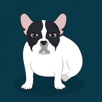 Ilustración plana bulldog
