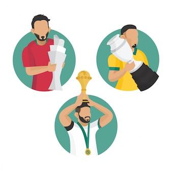 Ilustración plana de campeón de fútbol