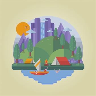 Ilustración plana de camping
