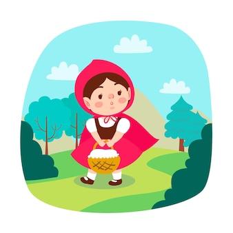 Ilustración plana caperucita roja