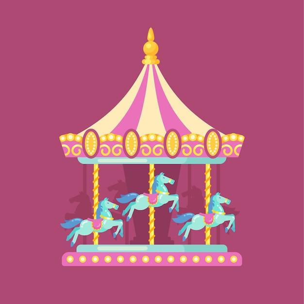 Ilustración plana carnaval feria de diversión