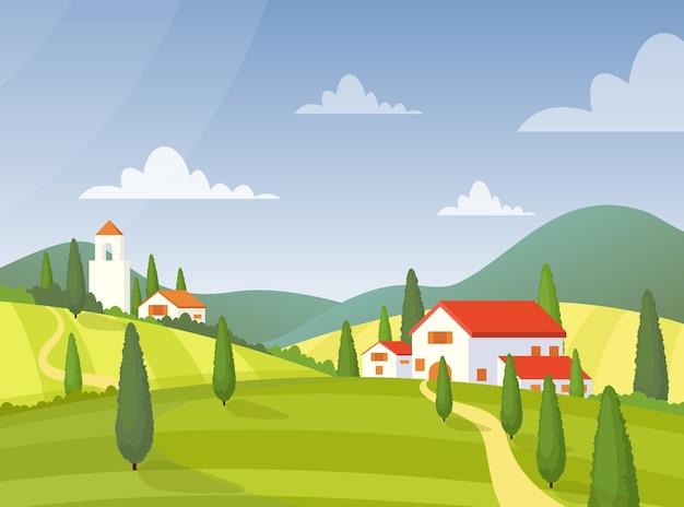 Ilustración plana de casa de pueblo. edificios de tierras de cultivo de italia. exterior de casas de campo.