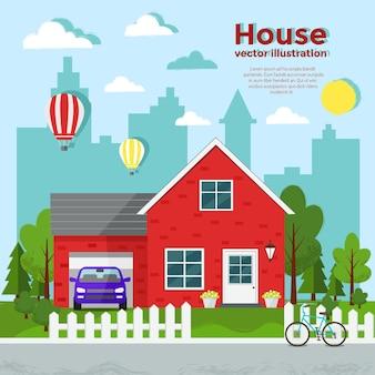 Ilustración plana casa roja