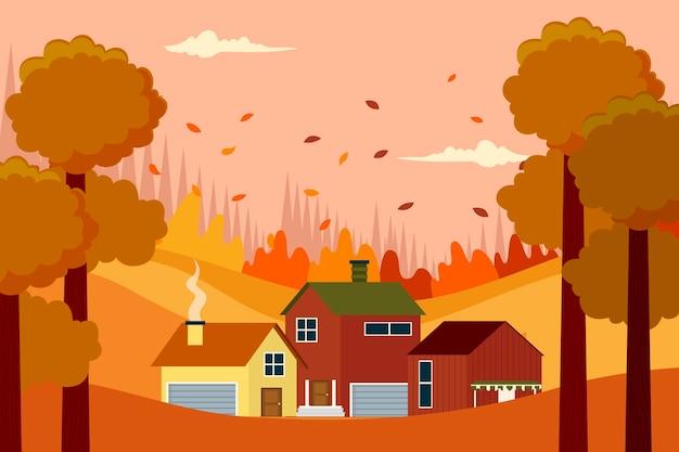 Ilustración plana de casas de otoño en el bosque