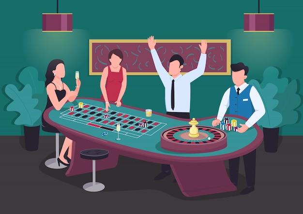 Ilustración plana de casino