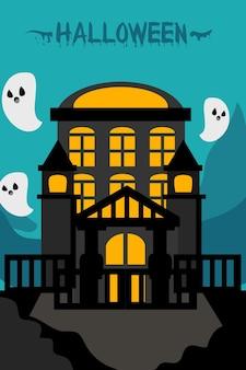 Ilustración plana de castillo de halloween