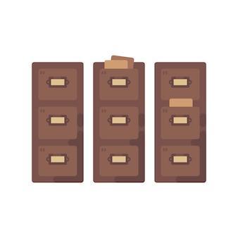 Ilustración plana del catálogo de tarjetas de la biblioteca. antiguo icono de almacenamiento de documentos.