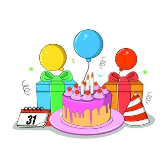 Ilustración plana de celebración de cumpleaños
