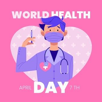 Ilustración plana de celebración del día mundial de la salud