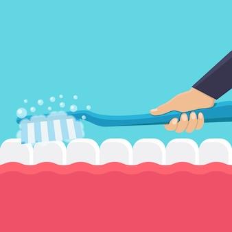 Ilustración plana de cepillarse los dientes