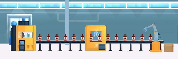 Ilustración plana de la cinta transportadora de bebidas
