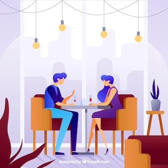 Ilustración plana cita pareja