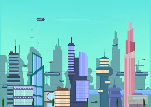 Ilustración plana de la ciudad futura. plantilla de paisaje urbano con edificios modernos y tráfico futurista.
