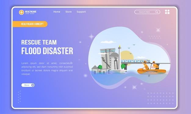 Ilustración plana de una ciudad inundada con un equipo de rescate en la plantilla de página de destino