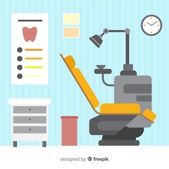 Ilustración plana clínica dental