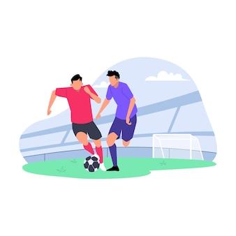 Ilustración plana de competición de fútbol