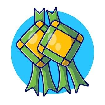Ilustración plana de composición tradicional de ketupat