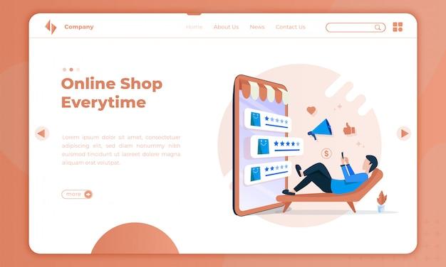 Ilustración plana de compras en línea cada vez en la página de destino