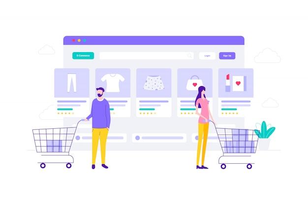 Ilustración plana de compras en línea de comercio electrónico, adecuada para banners web