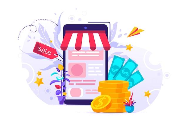 Ilustración plana, compras en línea, compra y venta
