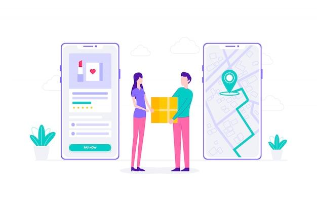 Ilustración plana de compras en línea de entrega de comercio electrónico