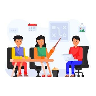 Ilustración plana de comunicación virtual de consulta financiera.
