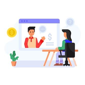 Ilustración plana de comunicación virtual de consultoría.