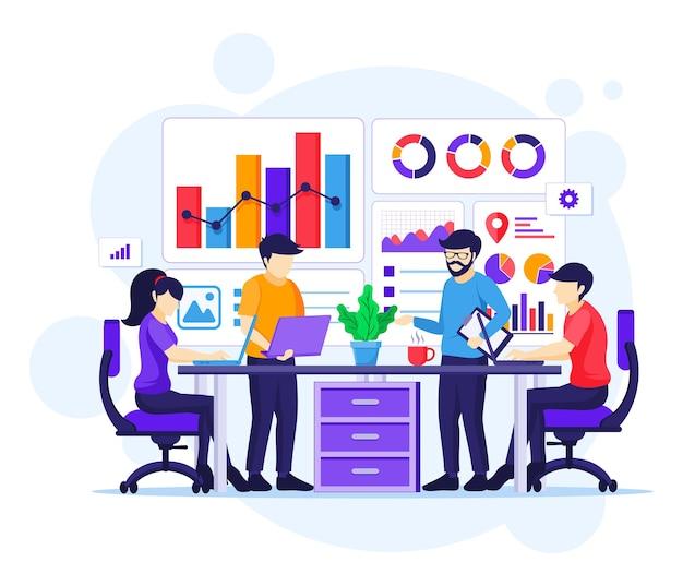 Ilustración plana del concepto de análisis empresarial