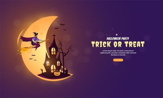 Ilustración plana del concepto de banner de halloween