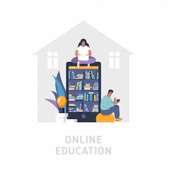 Ilustración plana del concepto de educación en línea. gran teléfono inteligente como estantería, la mujer usa una computadora portátil, el hombre está usando un teléfono inteligente. gente leyendo y educando con gadgets