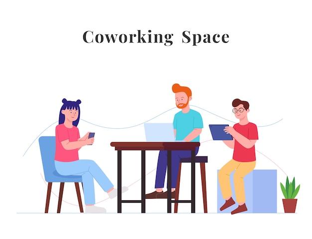Ilustración plana de concepto de espacio de trabajo de co personas sentadas disfrutan con gadget
