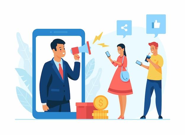 Ilustración plana del concepto de gestión de redes sociales