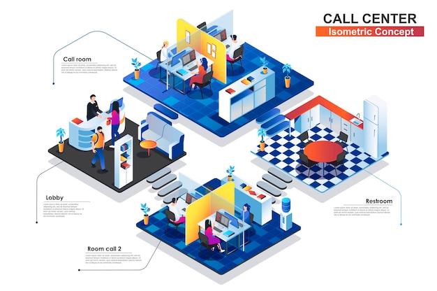 Ilustración plana del concepto isométrico terior del centro de llamadas