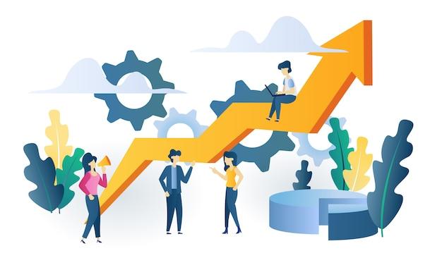 Ilustración plana de concepto de negocio gráfico