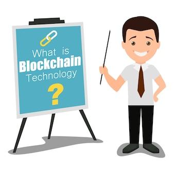 Ilustración plana del concepto de presentación de negocios de tecnología blockchain
