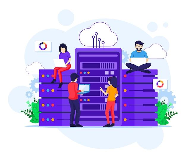 Ilustración plana del concepto de servicios de centro de datos