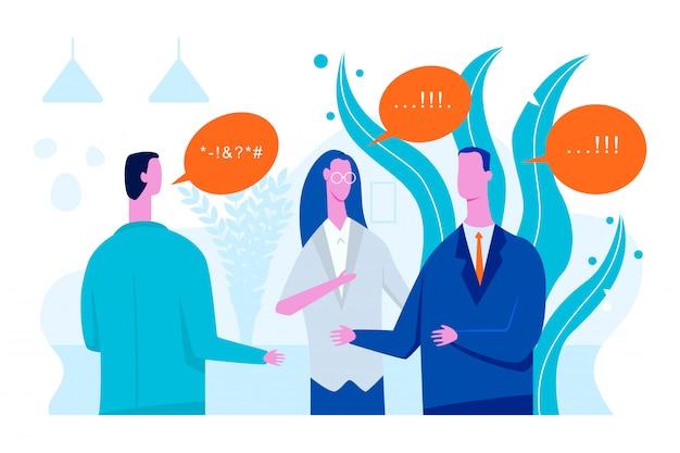 Ilustración plana de concepto de vector de intérprete con empresario y mujer traductor.