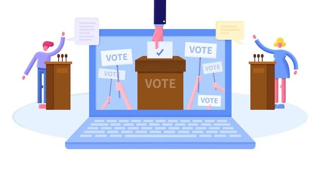 Ilustración plana del concepto de votación en línea con pantalla de computadora