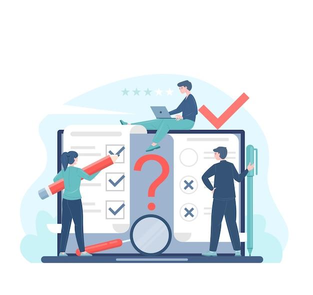 Ilustración plana del concepto de votación o encuesta en línea con votantes que toman decisiones