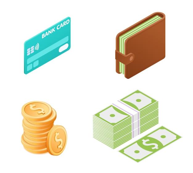 Ilustración plana del conjunto isométrico de dinero.