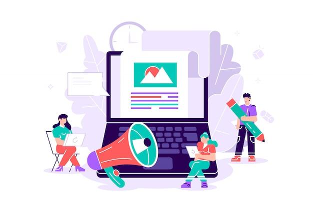 Ilustración plana contenido del blog, blogging. publicación en blogs comerciales, servicio de blogs en internet