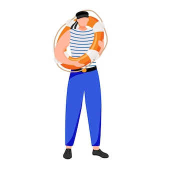 Ilustración plana contramaestre. ocupación marítima. marinero en uniforme de trabajo. marinero con salvavidas personaje de dibujos animados aislado sobre fondo blanco.