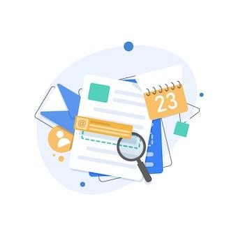 Ilustración plana de correo electrónico y mensajería